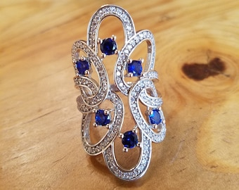 Sapphire & White Topaz Handmade Ring