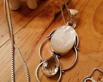 Mother of Pearl and White Topaz Pendant