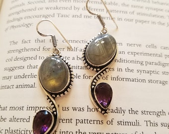 Labradorite & Amethyst Handmade Earrings