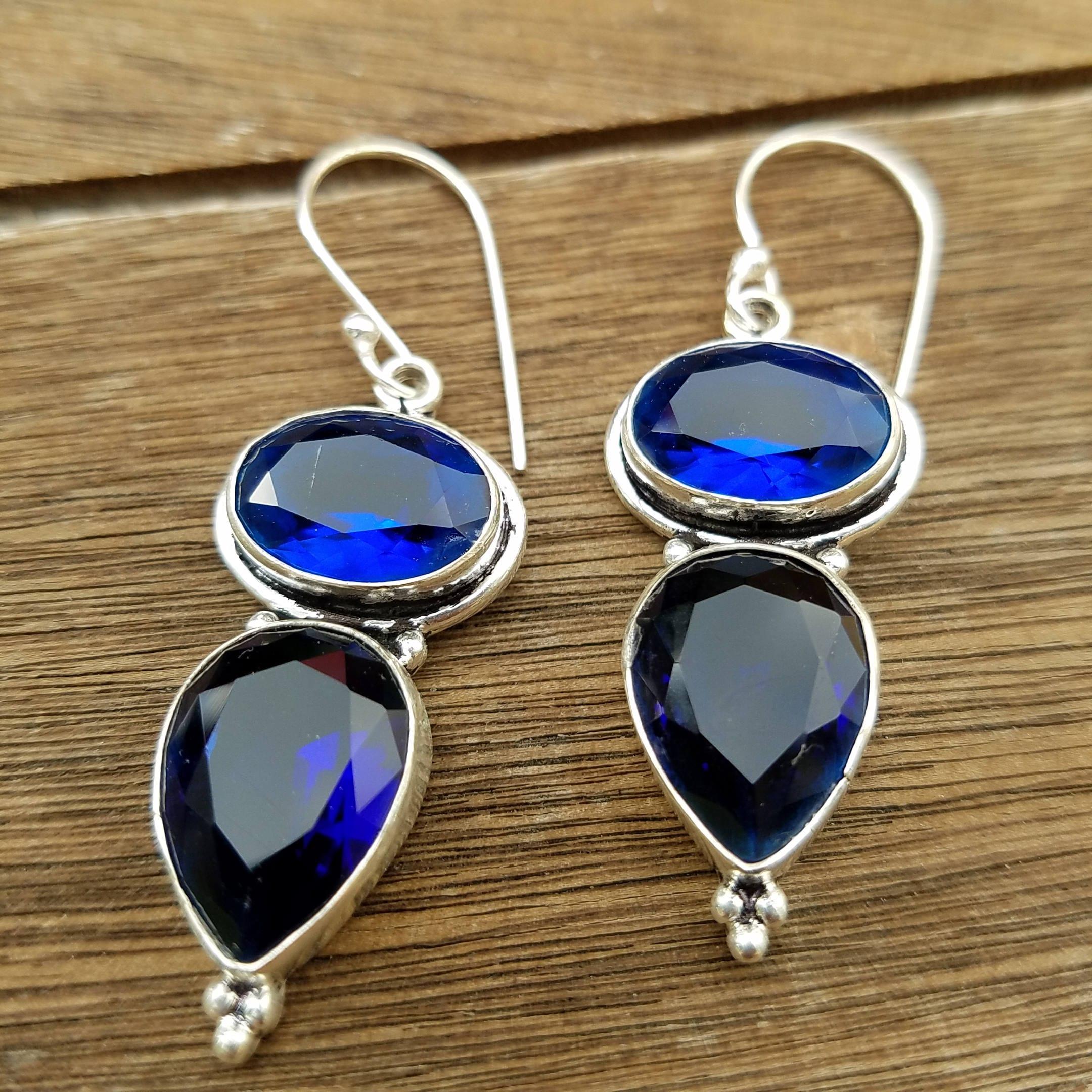Blue Sapphire Handmade Earrings | Etsy