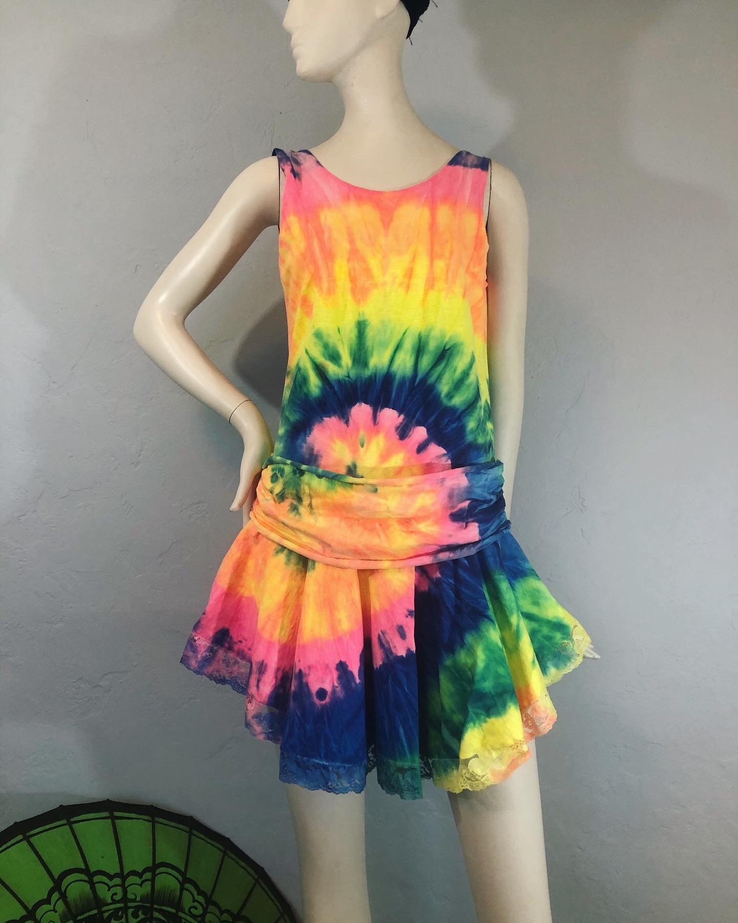 80s Dresses | Casual to Party Dresses Vintage 1980s Neon Tie Dye Drop Waist Tank Mini Dress With Lace Hem By Esy $0.00 AT vintagedancer.com