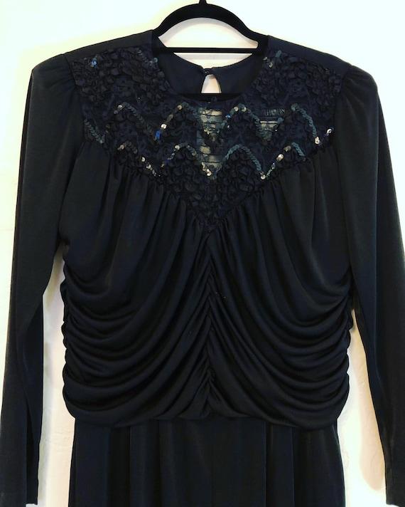 Dynamite vintage black knit 1980's jumpsuit, sequi