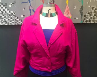 Hot Pink!!! Vintage 80's Nordstrom silk crop jacket. Size S/M.