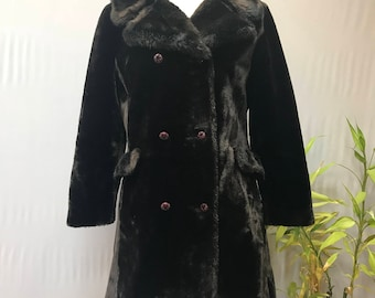 Gorgeous 1950's/60's chocolate brown faux fur double breasted coat.