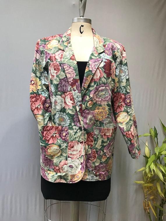 Flirty and fun 80's floral twill blazer. Perfect f