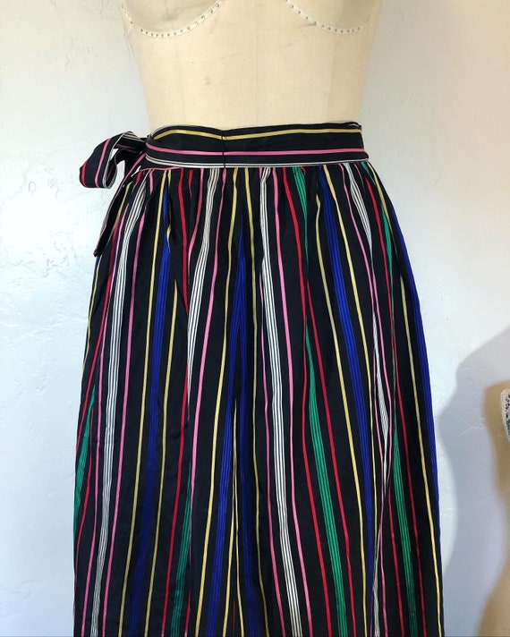 Vintage 1960's rainbow bright stripe taffeta prair