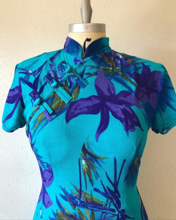 Turquoise floral rayon dress, vintage 1990's rayon
