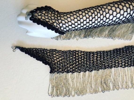 Magical 1920's vintage hand crochet fishnet beaded