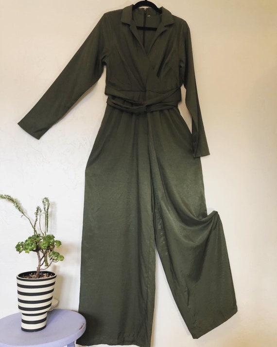 Army Green with a sheen to it, vintage 1980's wide