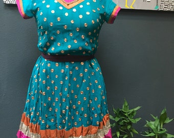 Vintage Turquoise dress from India, with 360 ornate detailing. Bohemian dress.