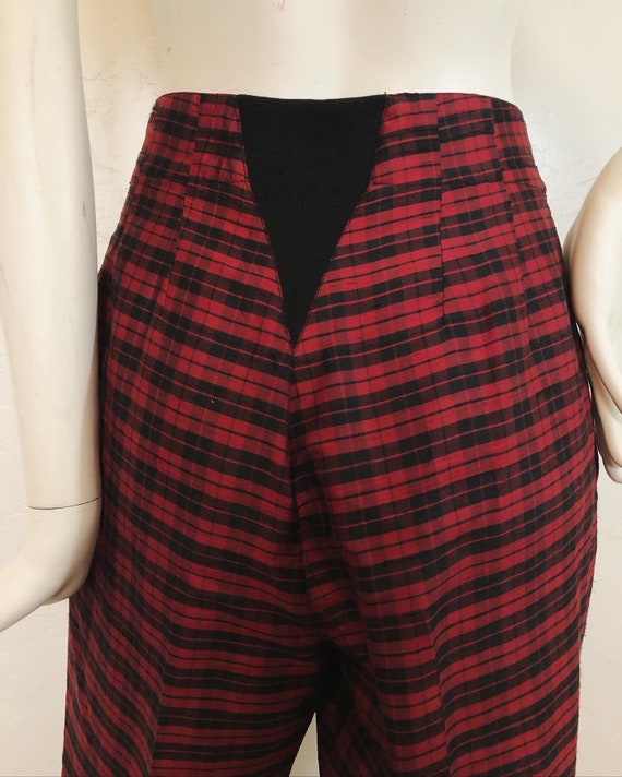 Vintage 1980's 100% silk contrast plaid suit by S… - image 9