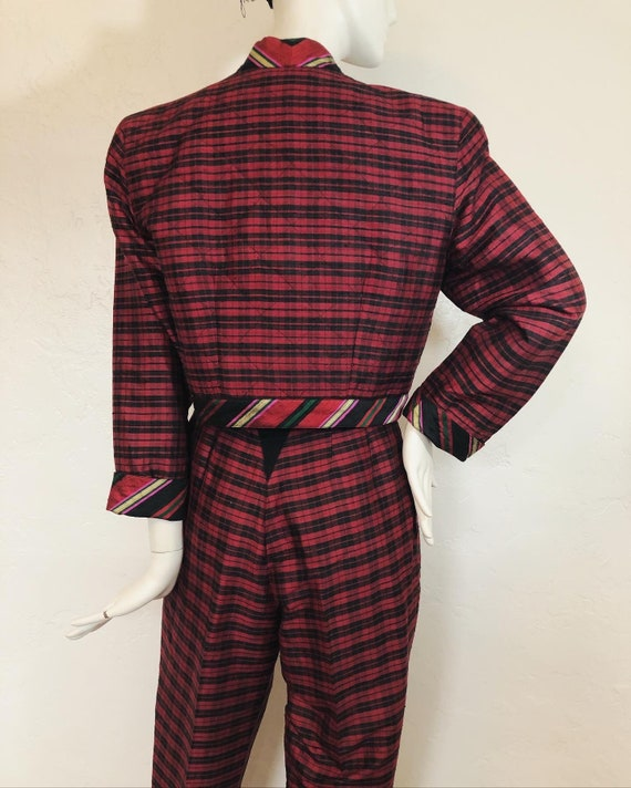 Vintage 1980's 100% silk contrast plaid suit by S… - image 6