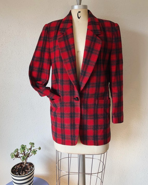 Vintage 1980's vibrant rich red plaid oversized fi