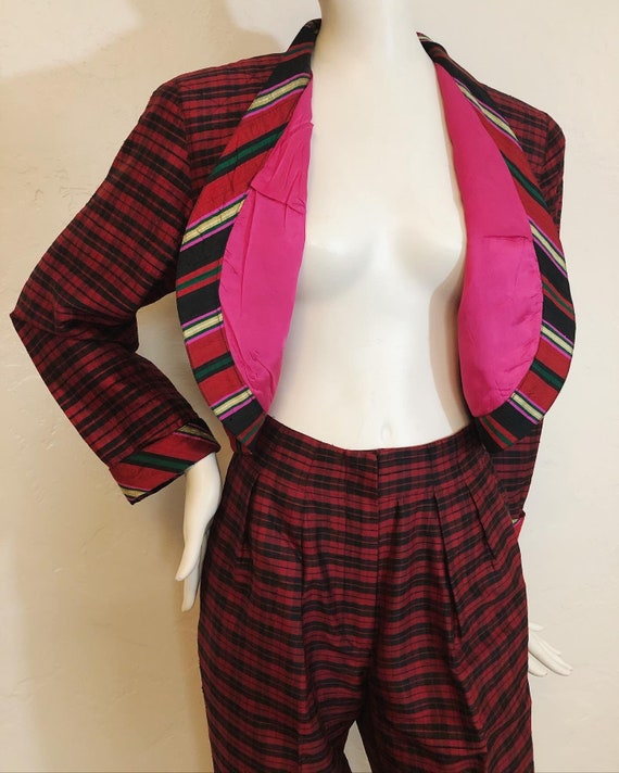 Vintage 1980's 100% silk contrast plaid suit by S… - image 1