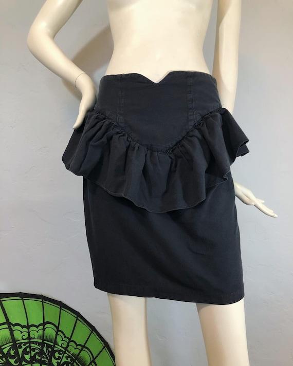 Vintage 1980's / 1990's washed black peplum ruffl… - image 3
