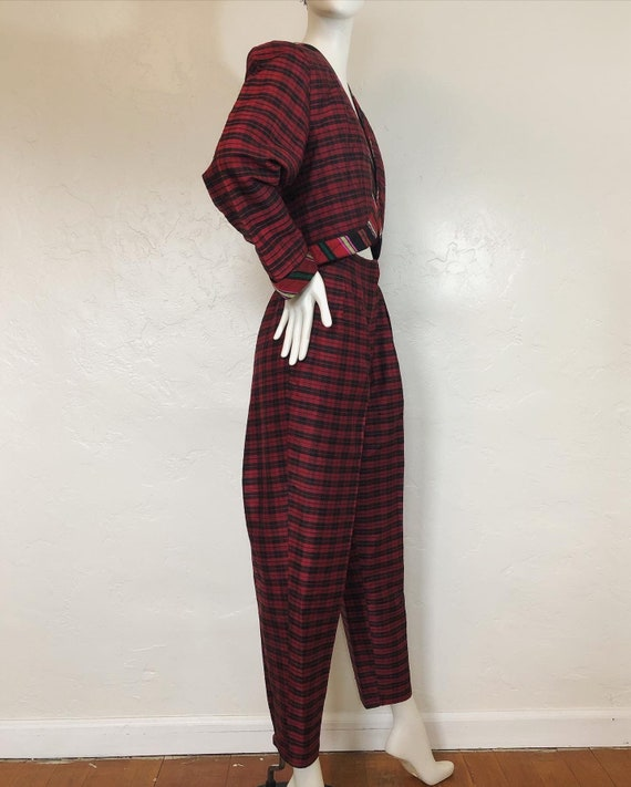 Vintage 1980's 100% silk contrast plaid suit by S… - image 4