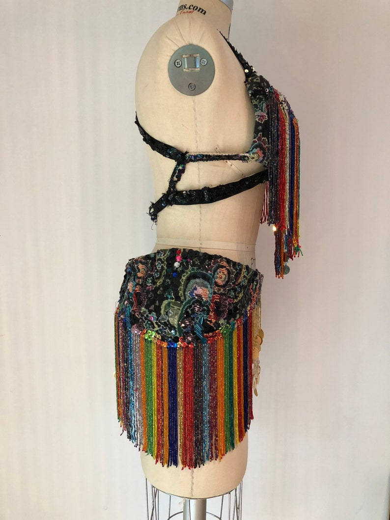 Mardi Gras Pride costume Vintage Hallowe Rainbow sparkle insanity with this completely handmade sequin and bead bustier and hip skirt set