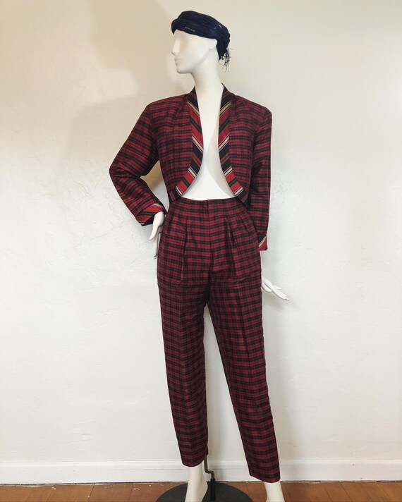 Vintage 1980's 100% silk contrast plaid suit by S… - image 2