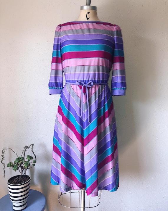 Sorbet Stripes, vintage late 1970's printed knit d