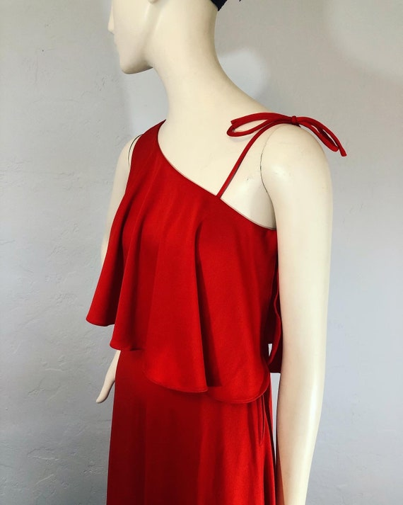 Vintage 1970's red knit one shoulder maxi dress by