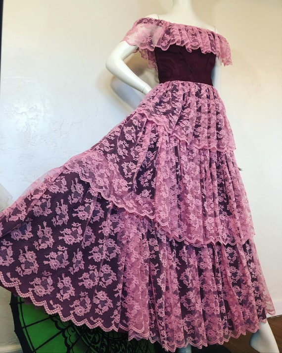 Vintage 1970s tiered pink lace over burgundy taffe
