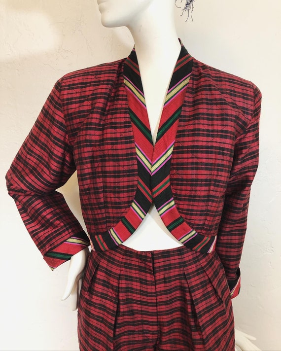 Vintage 1980's 100% silk contrast plaid suit by S… - image 3
