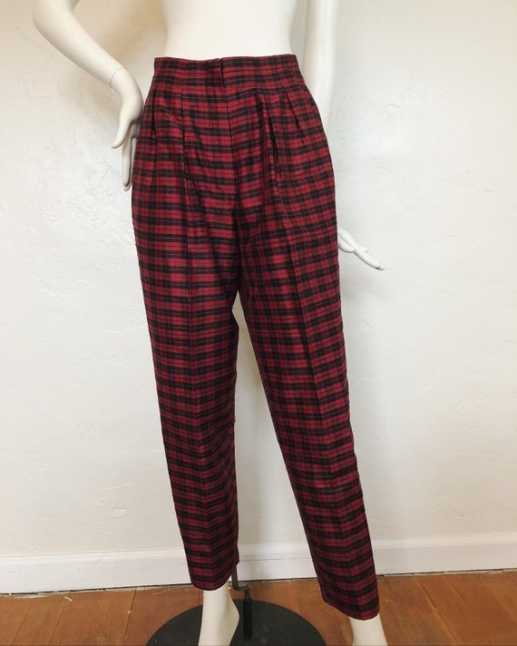 Vintage 1980's 100% silk contrast plaid suit by S… - image 8