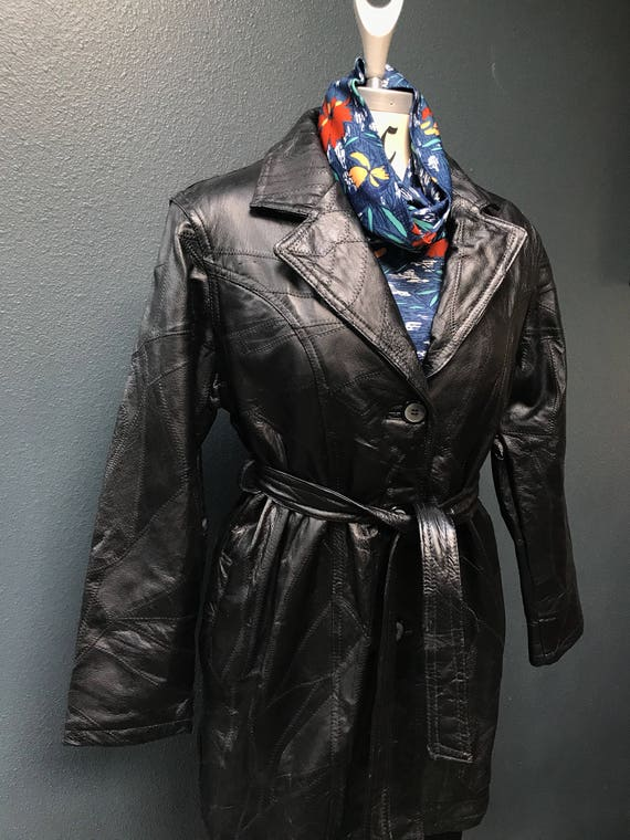 70's vintage black leather patchwork trench / coat