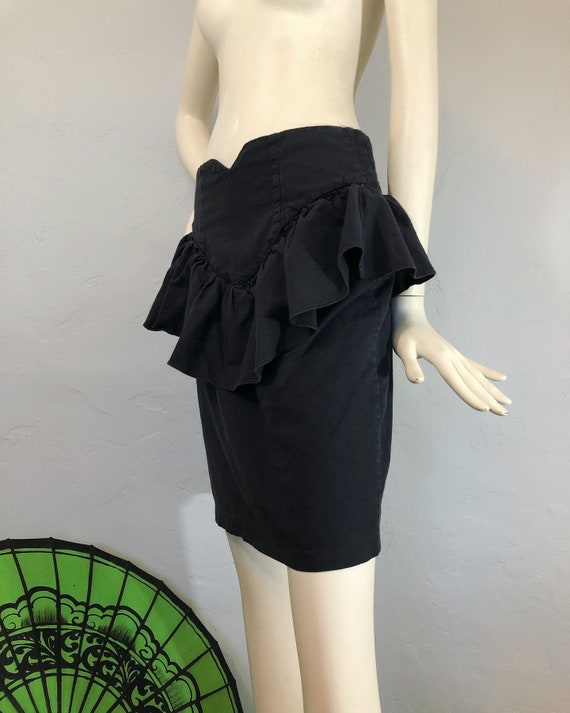 Vintage 1980's / 1990's washed black peplum ruffle