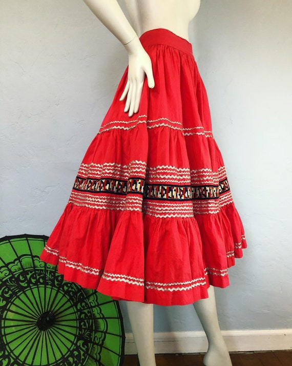 Vintage 1950's red and gold fiesta circle skirt by