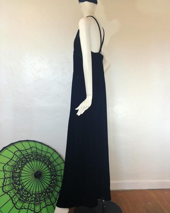 Vintage 1990's crisscross back black velvet maxi … - image 7