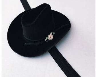 95a667f2663e7 Mini Black Cowgirl or Cowboy Hat Headband   Baby Stetson Cowgirl Hat  Headband   Black Hat Headband