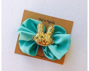 Glitter Bunny Messy Bow Clip / Aqua Bunny Hair Clip