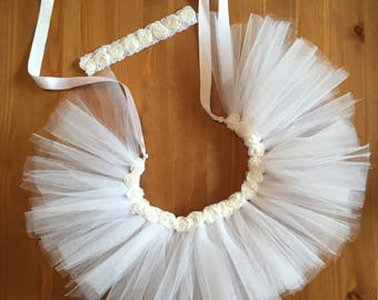 White Tutu with Flowers/Baby Girl White Tutu/Tutu 3 piece set/White Lace Headband