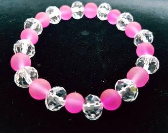 Frosted pink Crystal bracelet