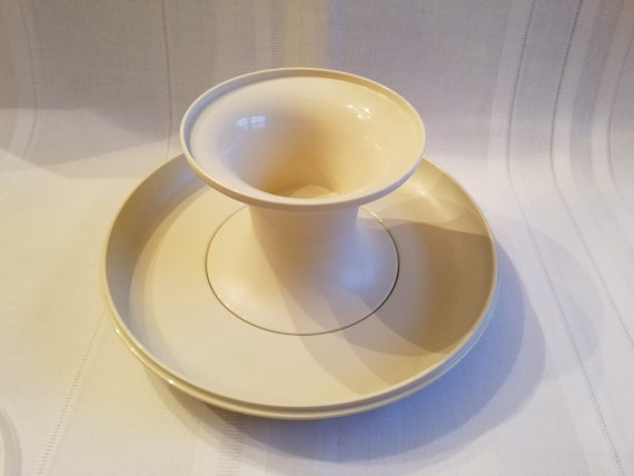 Vintage Tupperware Chip and Dip Yellow Platter Serving Dish with Bowl and Lid 14 diameter