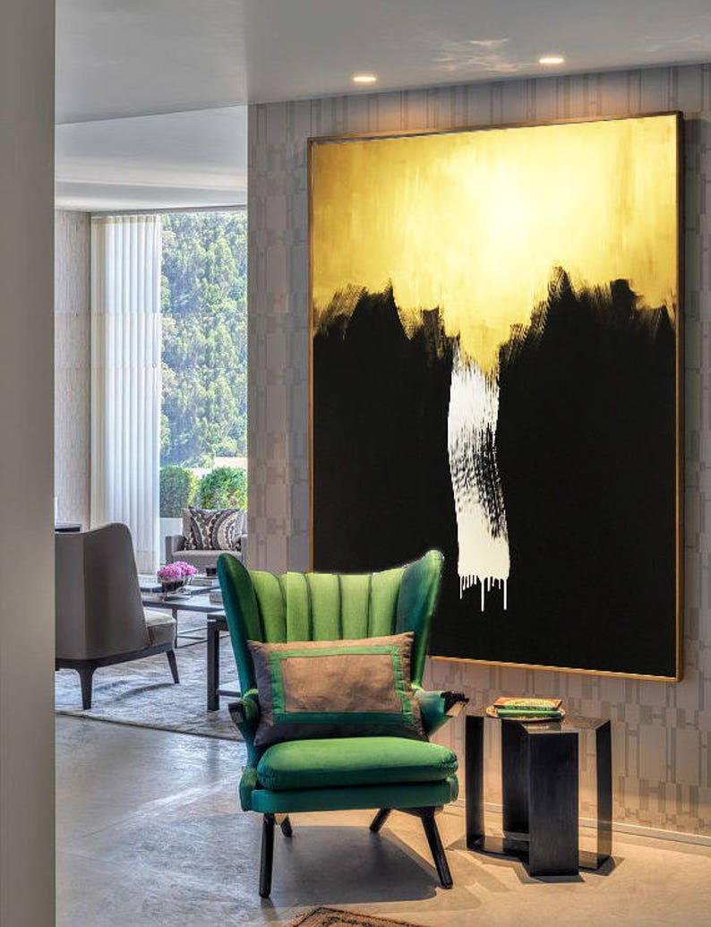 Infinity Waterfall - Gold Painting, Gold Abstract, Painting Acrylic,  Painting on Canvas, Handmade Original, Gold Art, Wall Artwork Painting