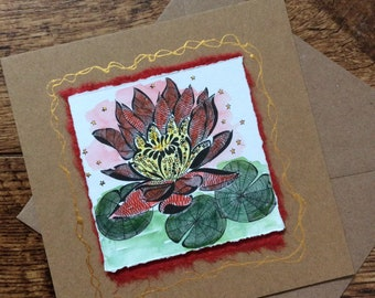 Lotus flower card, hand finished print, card for her, blank card