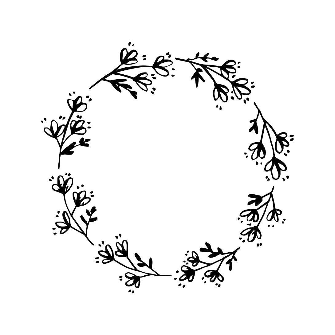 Wedding Vintage Flowers Frame Circle Graphics SVG Dxf EPS Png
