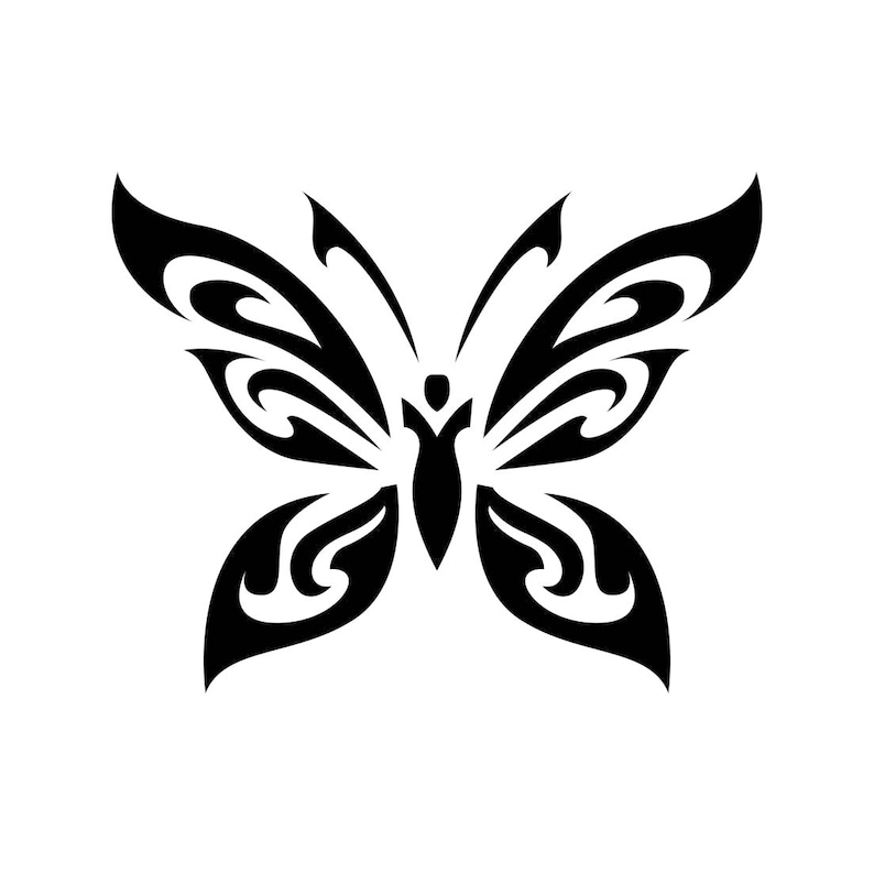 Papillon tribal tatouage animal graphique svg eps png cdr - Tribal papillon ...
