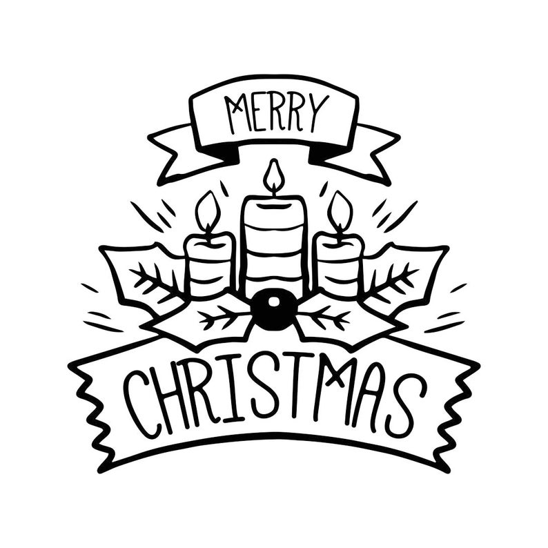 Merry Christmas Ornament Candle Graphics Svg Dxf Eps Cdr