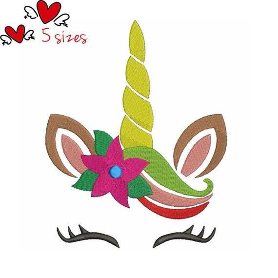 Dessins De Broderie Visage Licorne Noel Motif Floral Numerique Etsy