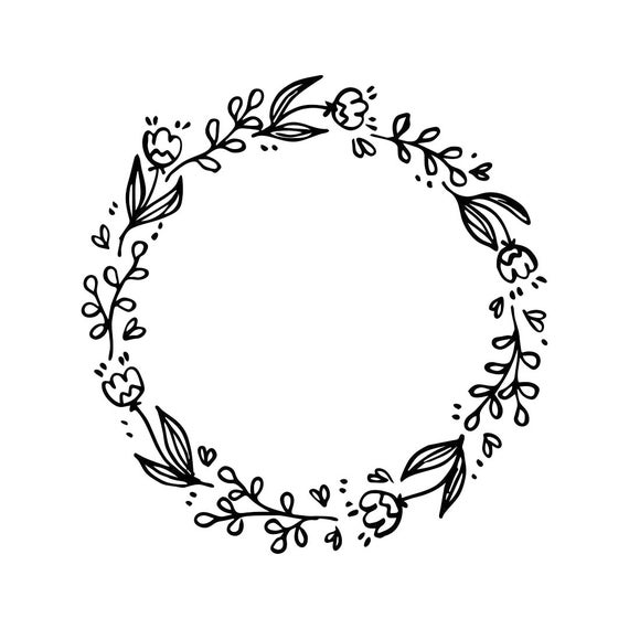 wedding vintage flowers frame circle Graphics SVG Dxf EPS ...