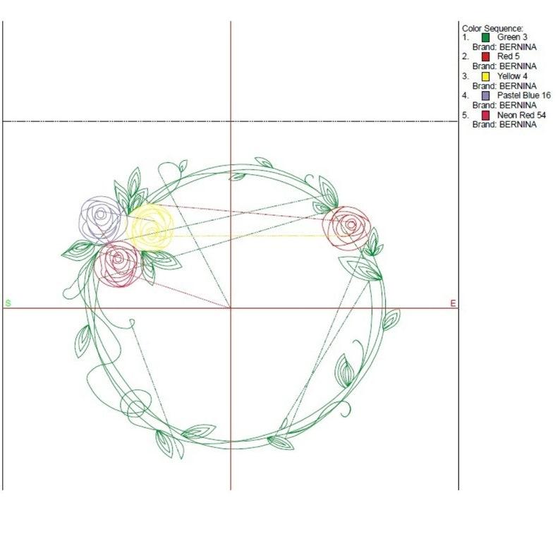 Circle Rose Monogram Frame Embroidery Machine Design Flower