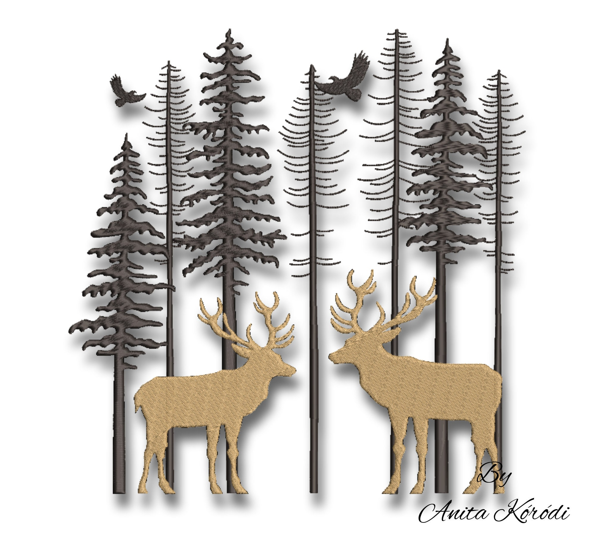 Machine Embroidery Pine and Reindeer Applique Machine Embroidery Design Embroidery Patterns Embroidery Files Instant Download