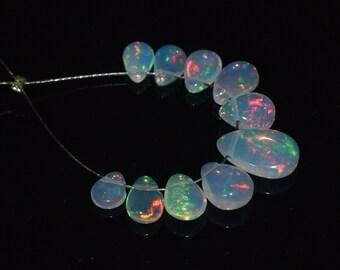 Multicolor Welo Ethiopian Opal Smooth Pear Briolette Sampler