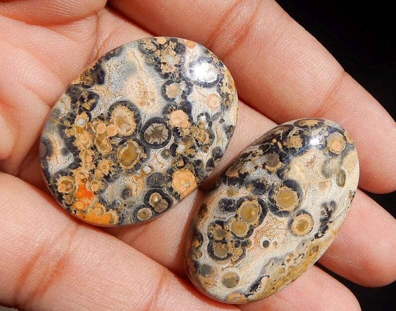 Amazing Quality Natural Leopard Skin Jasper Oval Cabochon 2 Pieces Pair AAA+ Quality Oval Shape 54.55ct Semi Precious Gemstone KJ8