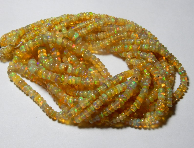 Quality Roundel Beads Multi Fire 16inch Long Strand Lo65 Amazing Quality Natural Ethiopian Opal Beads Necklace 3 MM To 5 MM Size AAA++