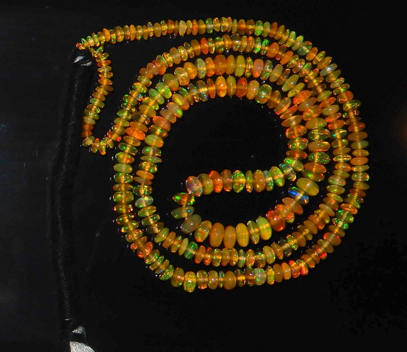 Superb Quality Natural Ethiopian Opal Roundel Beads 2.5 To 4MM Size Honey Color AAA++ Quality 16inch Long Strand Plain Beads Multi Fire A1