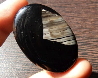 Black Banded Onyx Natural Cabochon 40x27x5 MM Size AAA+++ Quality Oval Cabochon 57.35ct Amazing Quality Oval Shape Semi Precious Stone OX2